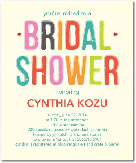 BRIGHT LETTER BRIDAL SHOWER PARTY INVITATIONS