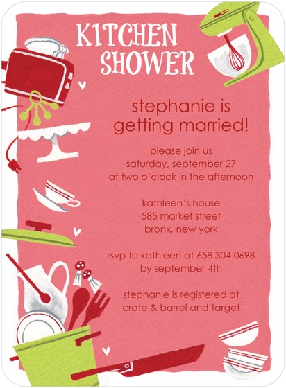 TABLEWARE KITCHEN BRIDAL SHOWER INVITES