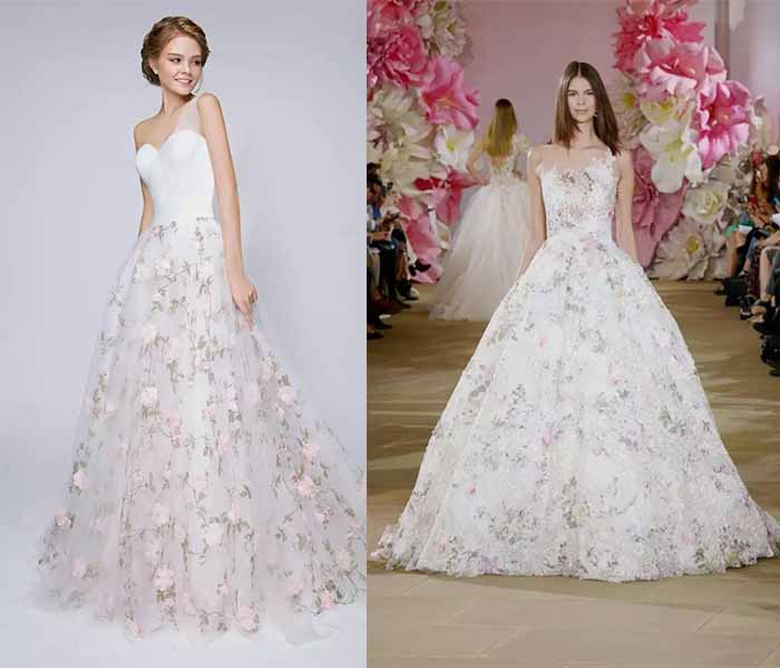 2017 printing wedding dresses