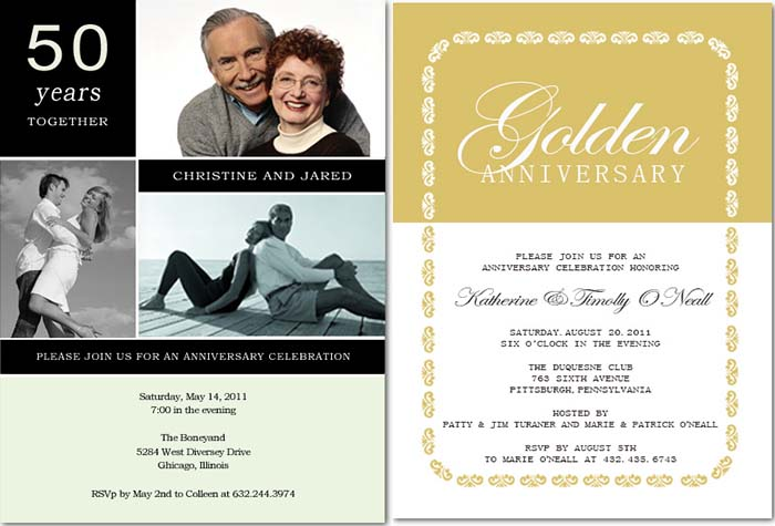 5oth wedding anniversary invitations