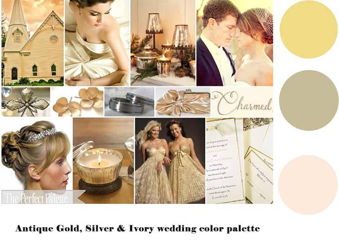 Antique Gold Silver & Ivory wedding color palette