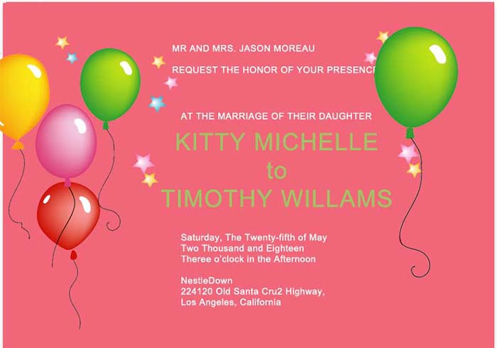 Balloon wedding invitations HPI285
