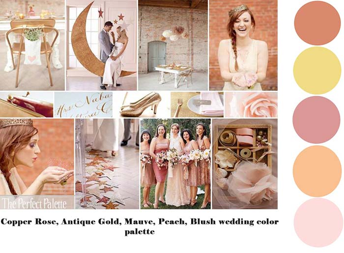 Copper Rose, Antique Gold, Mauve, Peach, Blush wedding color palette