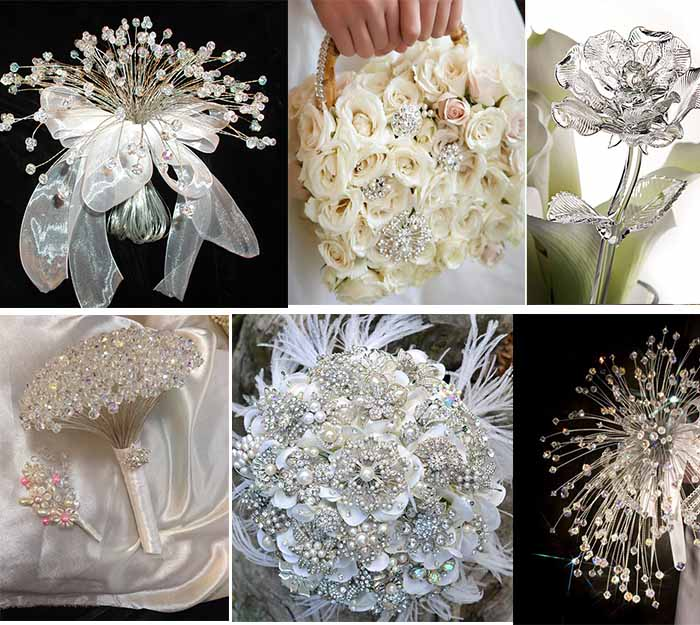 Crystal bridal bouquets and crystal wedding flowers