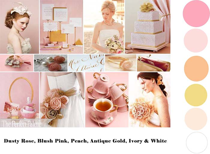 Dusty Rose Blush Pink Peach Antique Gold Ivory & White wedding color palette