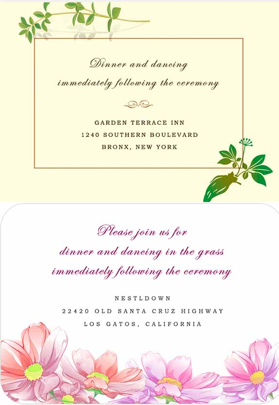 FLORAL RECEPTION CARDS