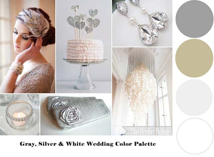 Gray Silver White wedding color palette