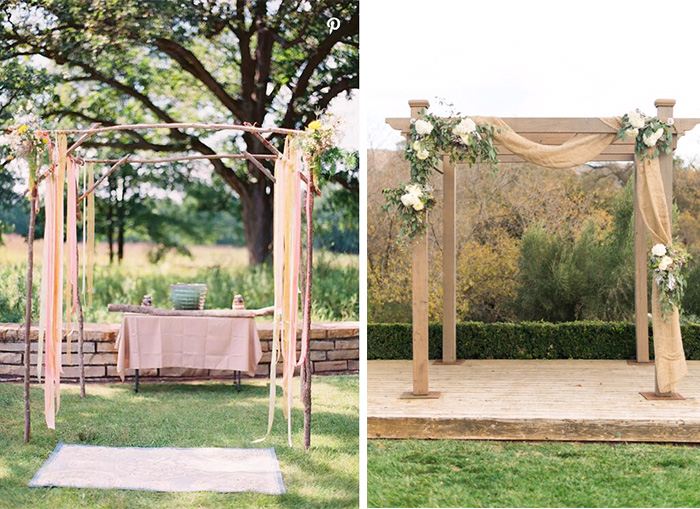 Rustic Ceremony arch with curtain
