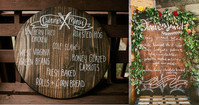 Rustic Wedding Menu on wood slice