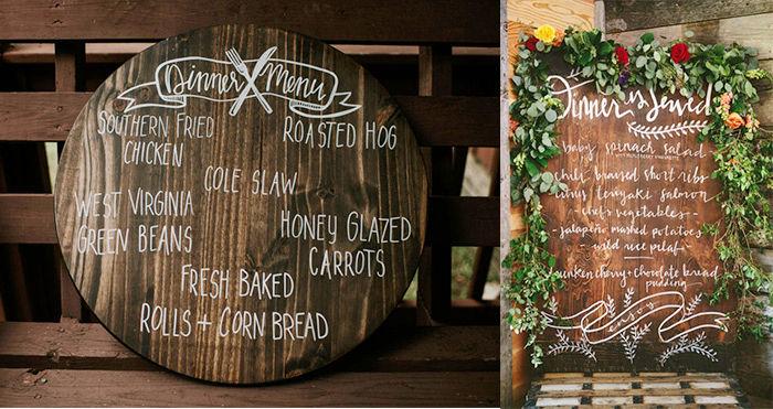 Rustic Wedding Menu on wood slice
