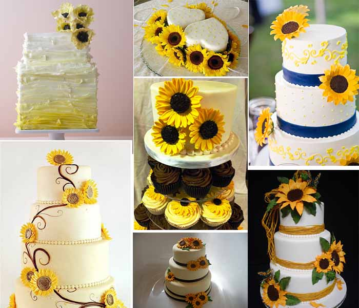 Sunflower Wedding Cake Ideas: Fall Wedding Party Theme- Sunflowers Themed Wedding