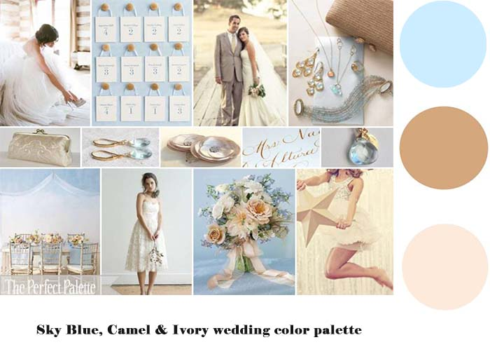 Sky Blue, Camel & Ivory wedding color palette