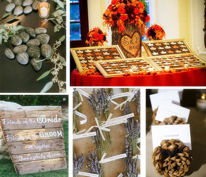 Special rustic wedding escort cards