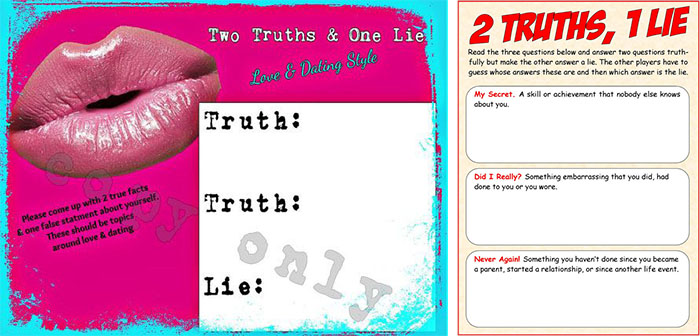 two truth and one lie bridal shower game