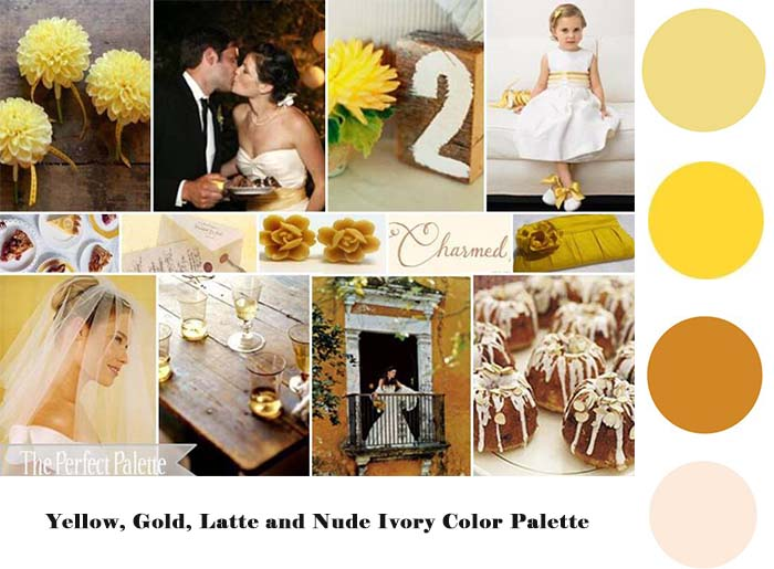 Yellow Gold Latte Nude Ivory wedding color palette