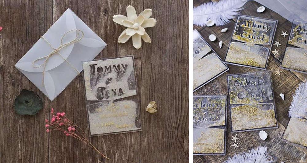 acrylic wedding invitations for beach wedding party