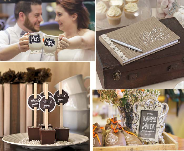 approachable coffee theme wedding