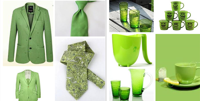 artist green color on spring wedding party