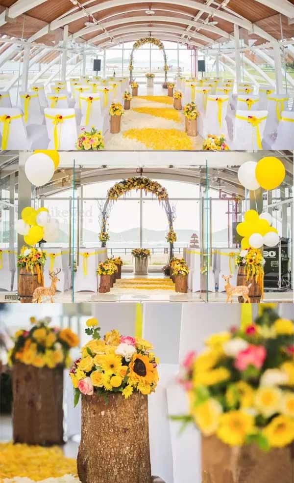 beach wedding of sunflowers decorations