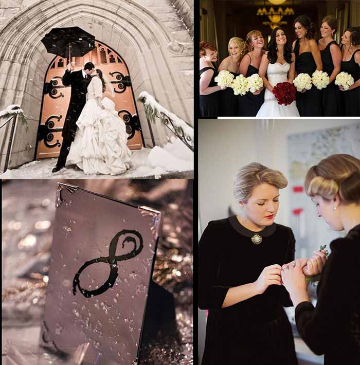 black and ivory winter wedding theme