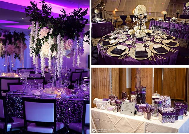black and purple wedding centerpieces