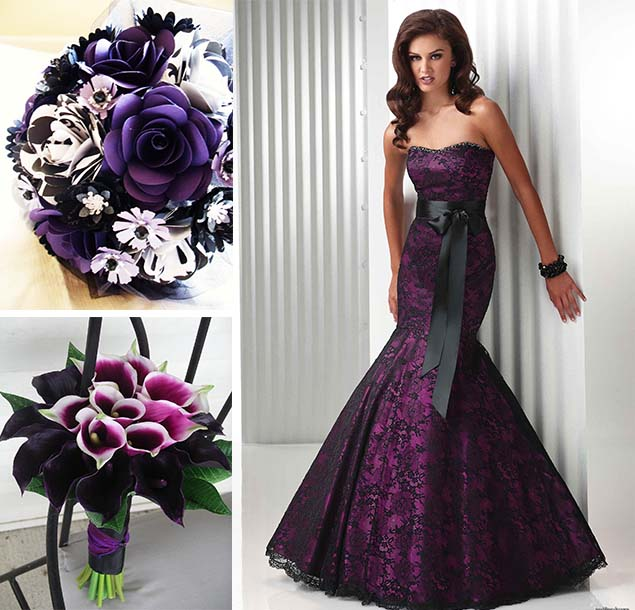Black And Purple Wedding Flowers
