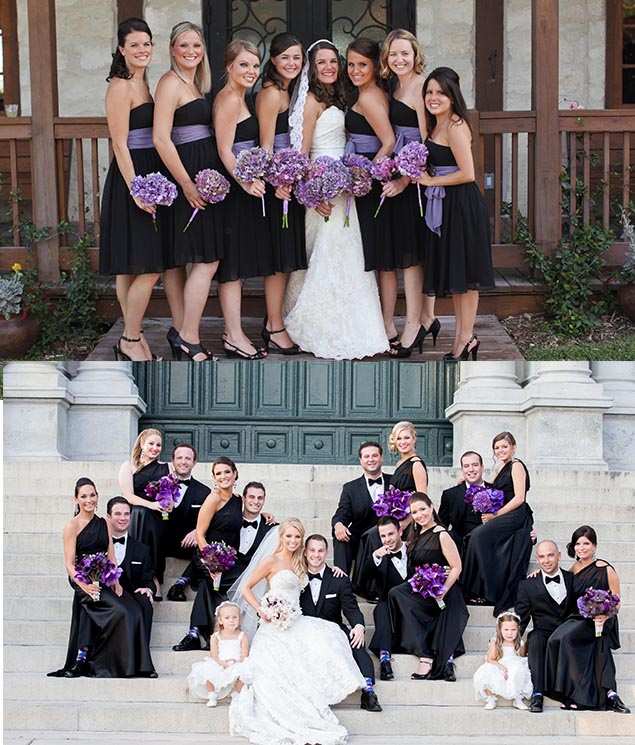 black and purple wedding party odeas