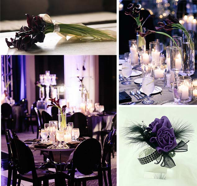 black and purple wedding party