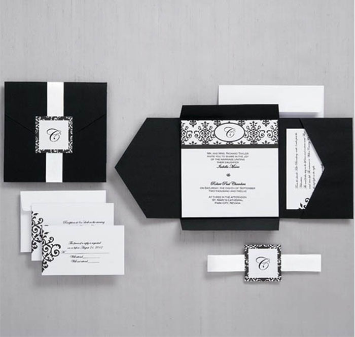black and white formal pocket wedding invitations