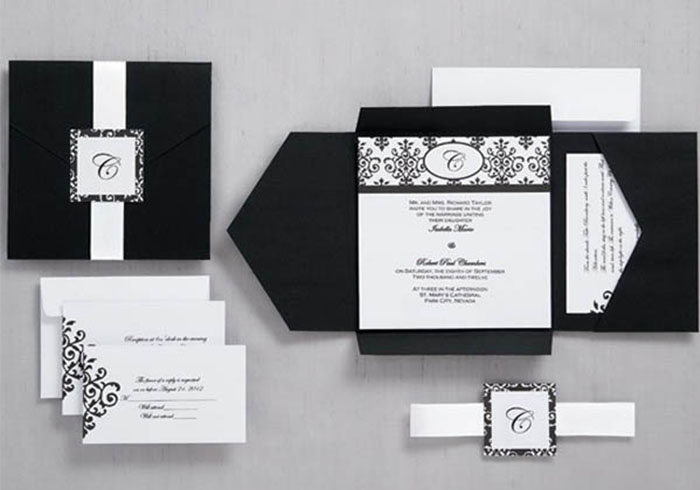 Black and white wedding invitations archives happyinvitation black and white pocket wedding invitations hpi270 filmwisefo