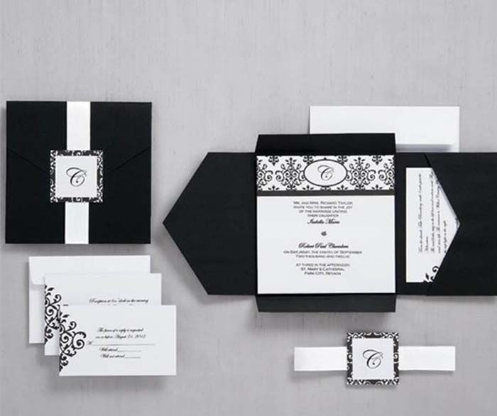 black pocket wedding invitations for gothic wedding