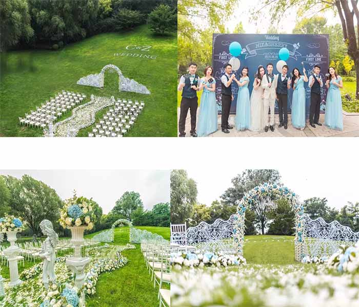 blue and white lawn wedding inspirations