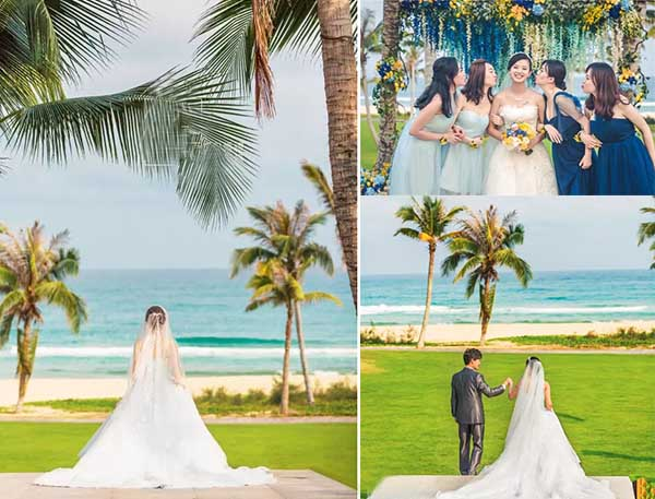 yellow and blue beach wedding party
