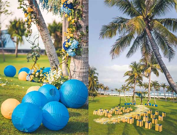 blue and yellow wedding venues