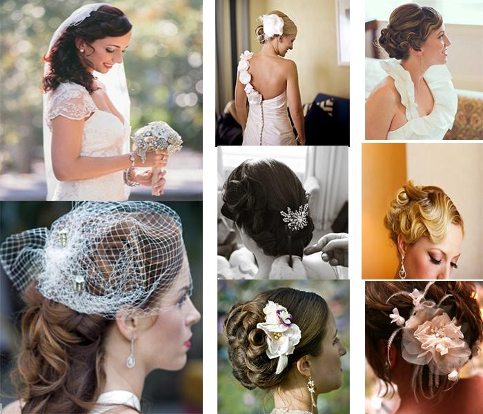 bride's hairstyle of vintage wedding