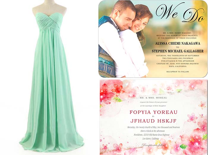 bridesmaid dresses and wedding invitations for garden wedding