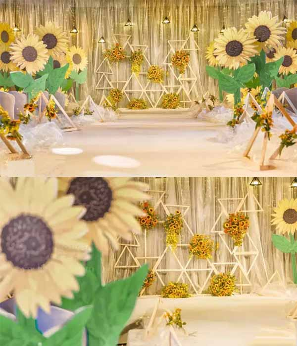 bright vibe sunflowers wedding decorations