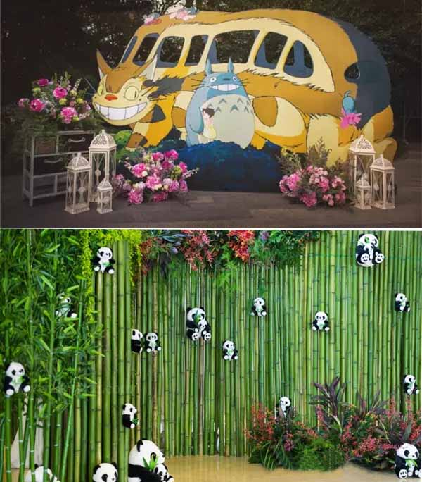 cartoon animals wedding photo areas