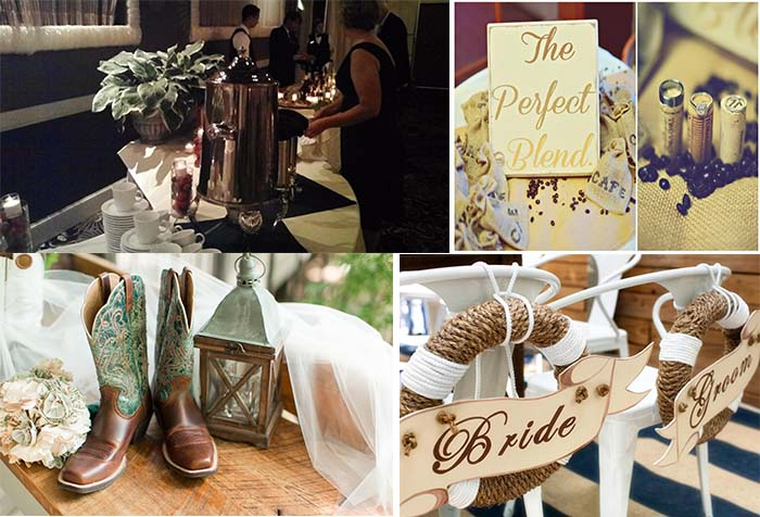 causal chic coffee themed wedding
