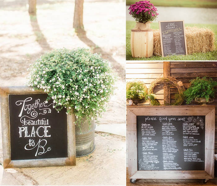 chalkboard decoration at rustic wedding