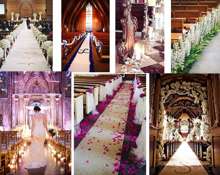 church wedding running aisle decoration