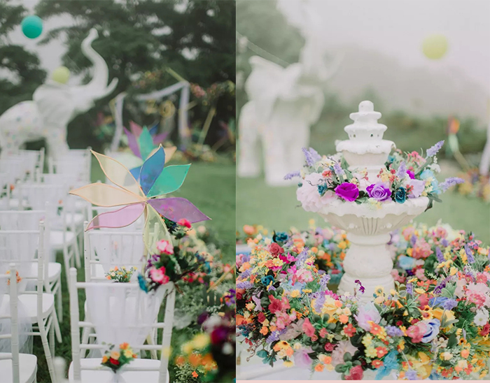 colorful decoration ideas of lawn wedding