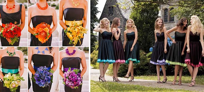 colorful hue bridesmaid dresses