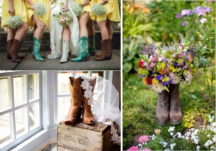 cool boots for bride and bridesmaids