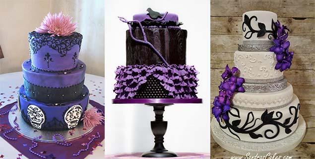 creative black and purple wedding cakes