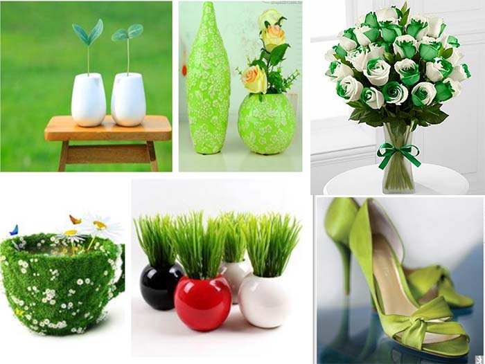 creative green scene on spring wedding party