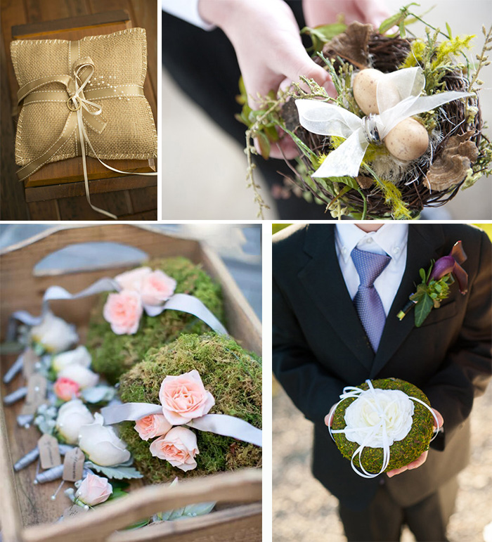 creative ring holder for rustic wedding