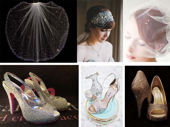 crystal wedding veils and crystal wedding shoes