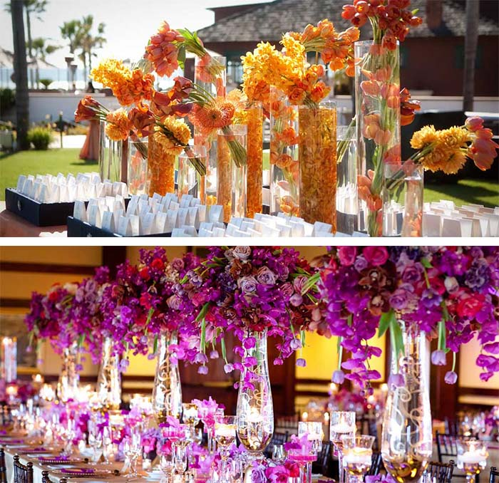 crystal with colorful f;lowers for winter wedding