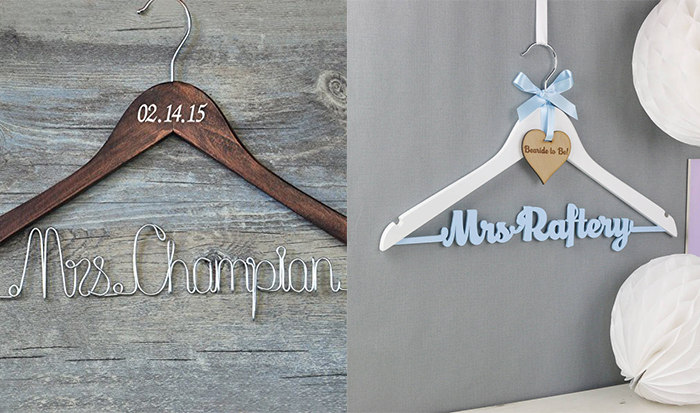 custom hanger for bride and bridesmaid dresses